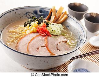 tongkotsu ramen - delicious tongkotsu ramen, shallow depth...