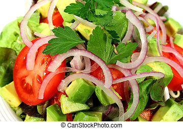 Close up of a delicious tossed salad ready to eat.