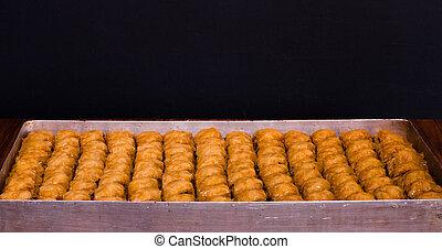 "Delicious traditional Turkish dessert ""Baklava"" with walnut"