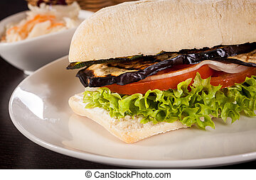 delicious vegan vegetarian burger with grilled eggplant