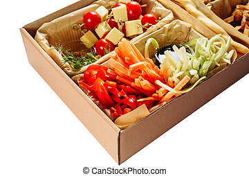 Delicious Vegetable Carton Box Isolated Delivery