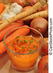delicious vegetable soup liquidised for old people