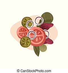 Delicious vegetarian salad. Healthy food. Tasty meal. Element for cafe or restaurant menu. Flat vector icon with texture
