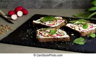 Delicious vegetarian sandwiches - Delicious sandwiches with...