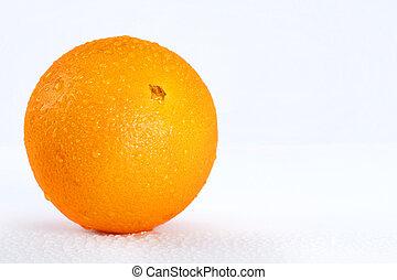 Delicious wet orange over white