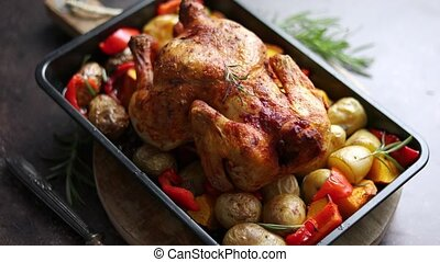 Delicious whole chicken cooked with pumpkin, pepper and ...