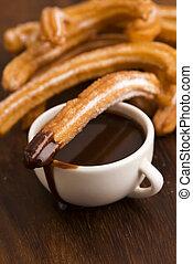 deliciuos, espanhol, churros, com, chocolate quente