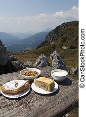delicius, nourriture, table, bois