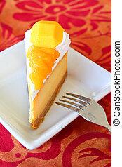 delicous, pastel de queso, mango