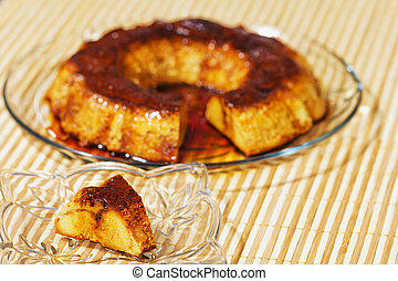 delight., 상쾌한, 고전, 세부, dessert., 설탕, 달콤한 캬라멜, flan., 달걀, 푸딩,...
