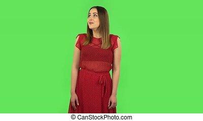 delight., rouges, surpris, robe, choqué, tendre, événement, ...