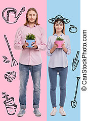 Delighted couple being ready for working in garden
