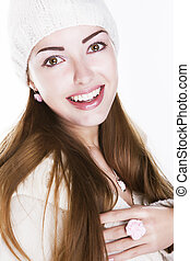Delighted happy woman face - beauty toothy smile - Delighted...