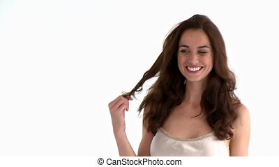 Delighted hispanic woman smiling at