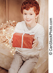 Delighted little boy with a present