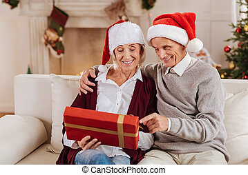 Delighted pensioners spending time with pleasure