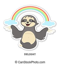 Delighted sloth sticker