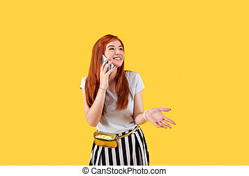 Delighted young woman being in a great mood