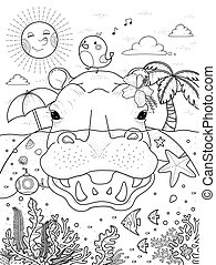adult coloring page - delightful hippo with island on its back