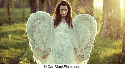 delikat, frau, angezogene , als, ein, engelchen