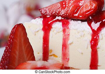 delikat, jordgubbe, cheesecake, macro., horisontal