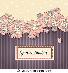 delikat, vektor, bakgrund, med, rosa blommar