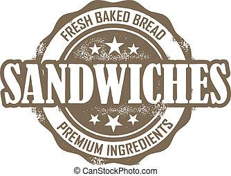 delikatessaffär, årgång, sandwich, stämpel