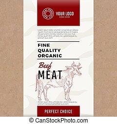 delikatny, jakość, organiczny, beef., abstrakcyjny, wektor, mięso, pakowanie, projektować, albo, label., nowoczesny, typografia, i, ręka, pociągnięty, krowa, silhouette., kunszt, papier, z, mięso, struktura, tło, układ
