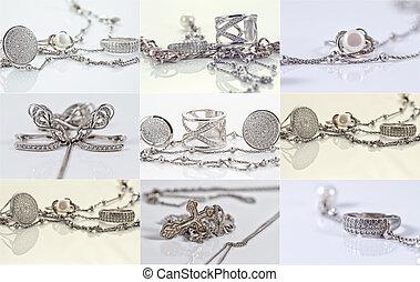 delikatny, niezwykły, dzwoni, srebro łańcuch