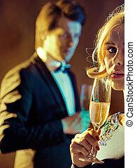 delikatny, para, szampan, strzał, picie