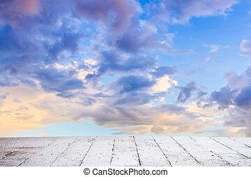 delikatny, zachód słońca, łosoś, chmury, blady, podłoga, ...