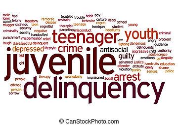 delincuencia juvenil, palabra, nube