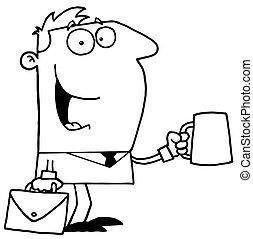 delineato, caffè, uomo affari