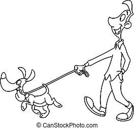 delineato, cane cammina, uomo