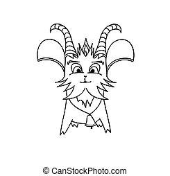 delineato, carattere, goat, cartone animato