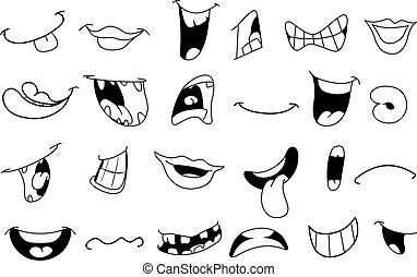 delineato, cartone animato, bocche