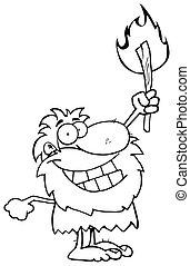 delineato, caveman, felice