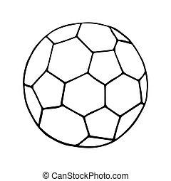 delineato, football, vettore, icona, calcio, ball.