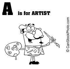 delineato, maschio, artista