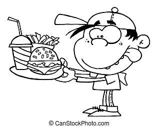 delineato, ragazzo, con, fast food