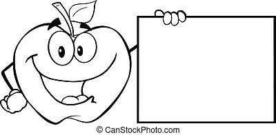 delineato, vuoto, esposizione, mela, segno