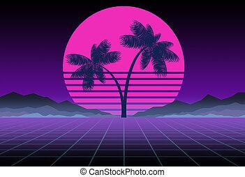 delirio, palmas, synthwave, retrowave, game., template., gráficos, concept., diseño, música, ciencia ficción, 80s, plano de fondo, computadora, retro, sol, espacio