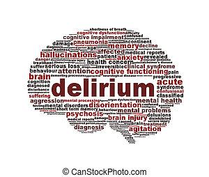 delirio, sindrome, salute mentale, icona, disegno