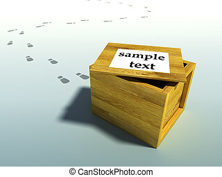 wooden crate 3d rendering with human footsteps