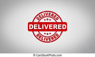 Delivered Signed Stamping Text Wooden Stamp Animation.