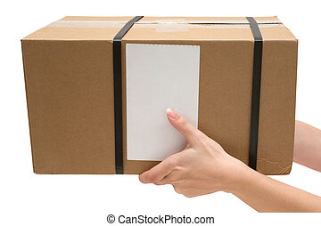 Woman holding a brown postal package. Isolated on a white background.