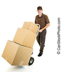 Delivering For You - Friendly delivery man or mover pushes a...