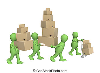Delivering - Four puppets with boxes. Isolated over white