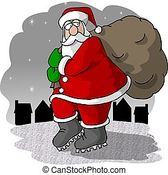 This illustration depicts Santa walking through a town carrying a large bag of gifts.