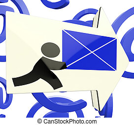 Delivering Mail Arrow On At Background Showing Online Delivery